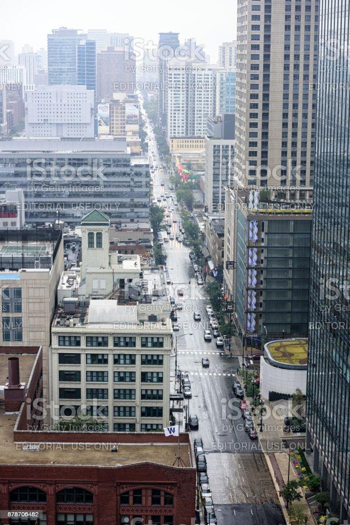 North Clark Street, wet day, Chicago stock photo