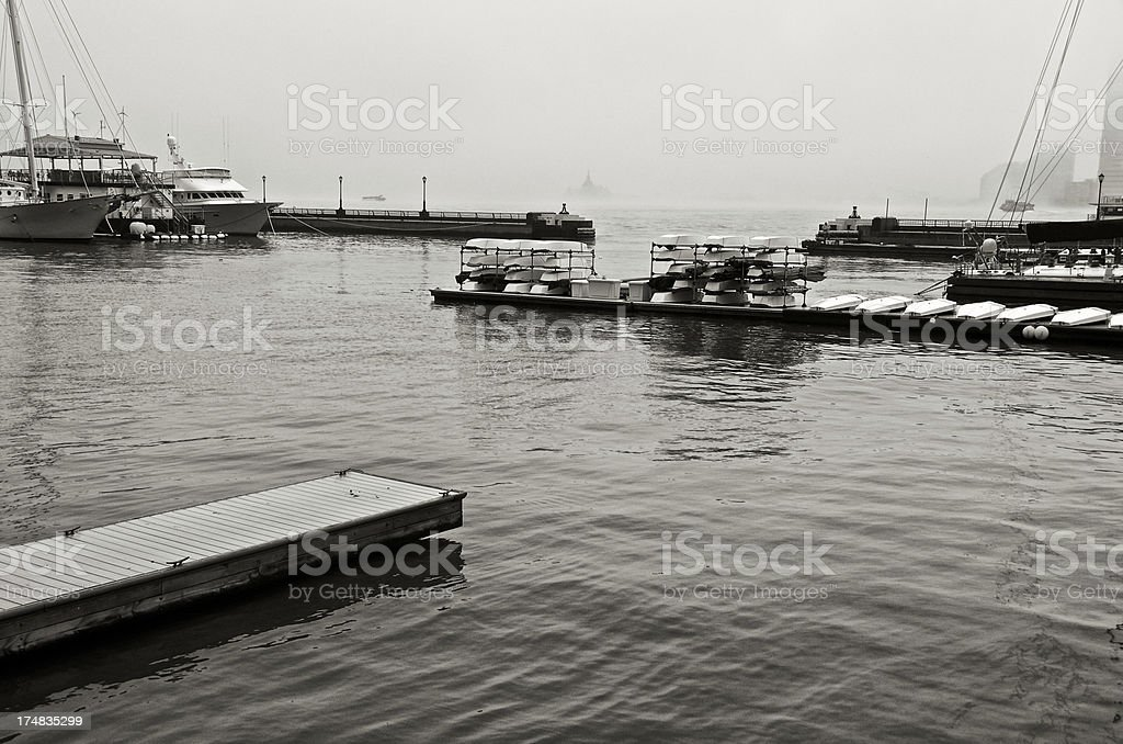 North Cove Marina, Hudson River in fog, Lower Manhattan, NYC royalty-free stock photo