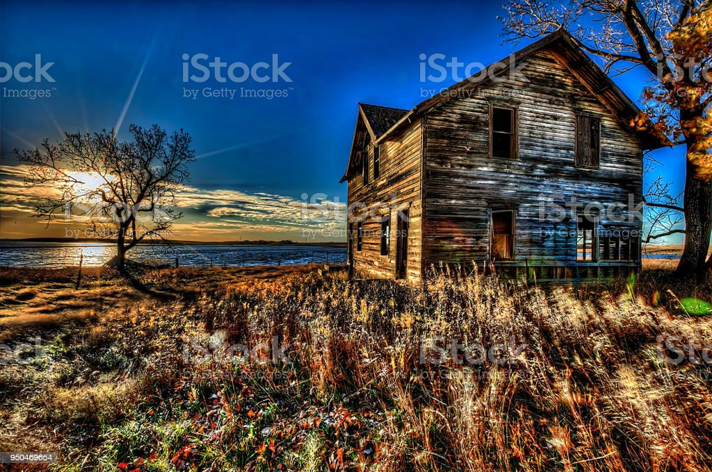 north dakota Abandoned buildings stock photo