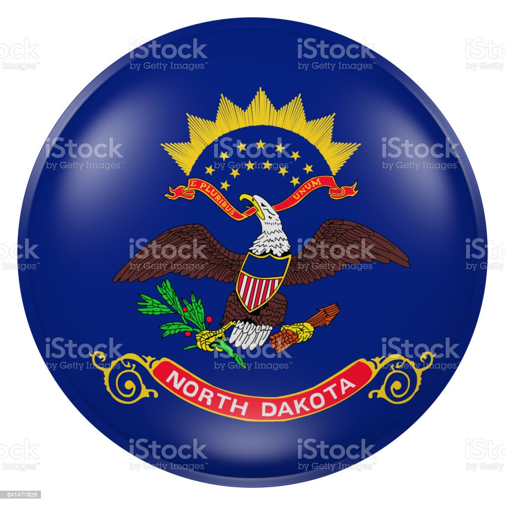 North Dakota flag button stock photo
