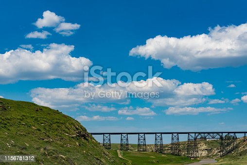 A North Dakota Landscape with railroad trestle on a sunny day.