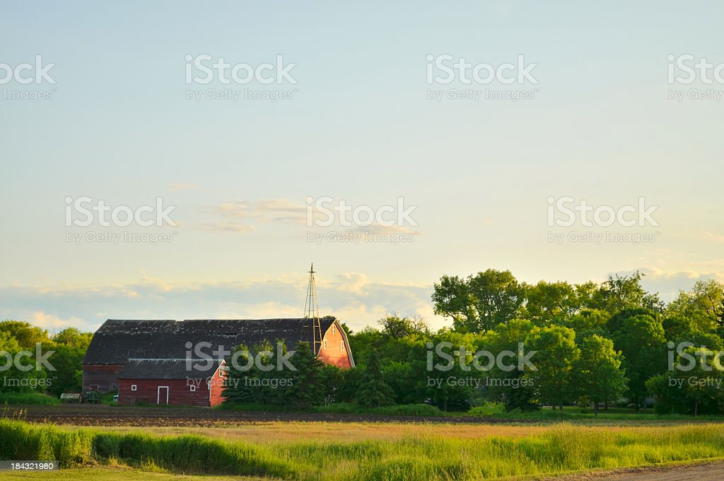 North Dakota Red Barn At Sunset royalty-free stock photo