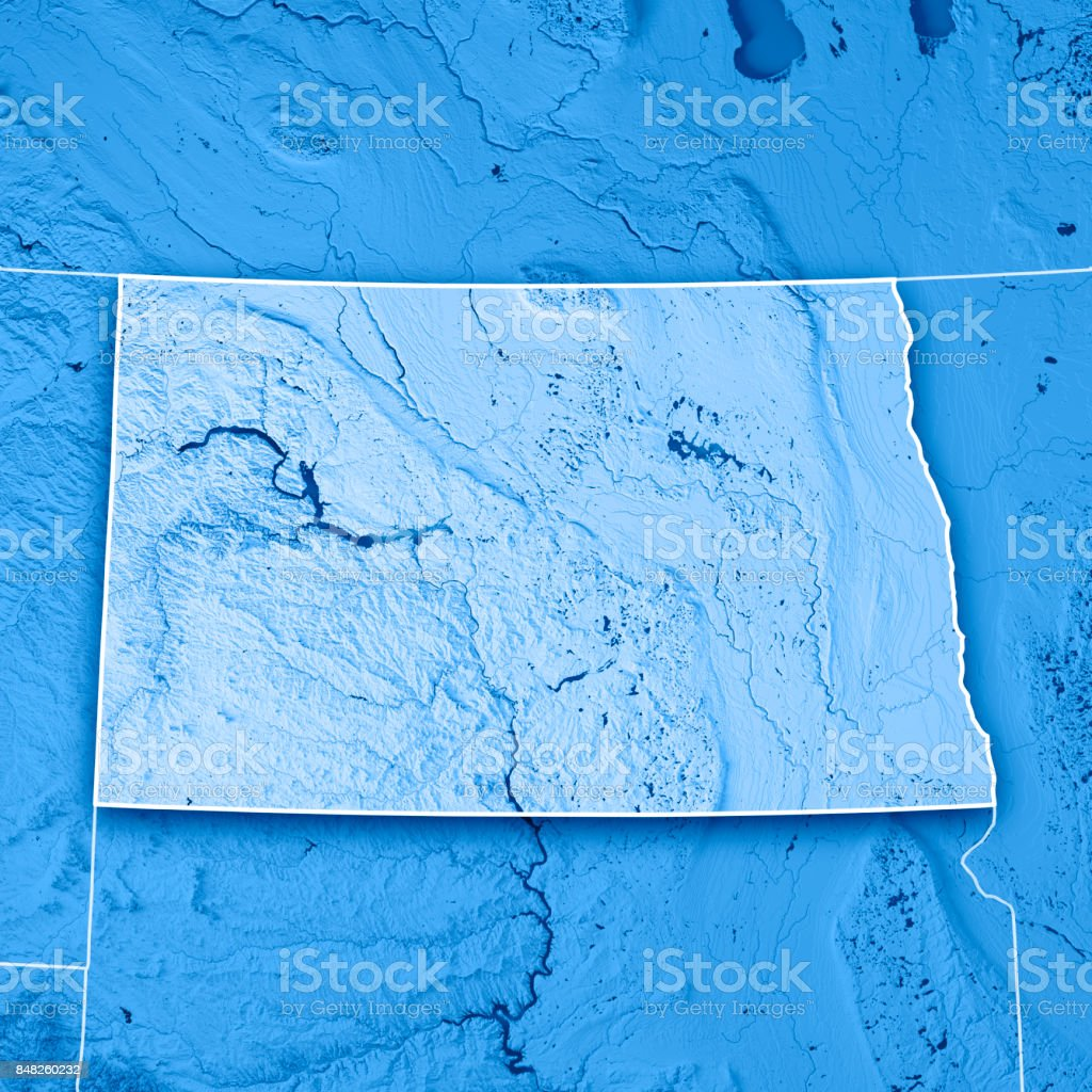 North Dakota State USA 3D Render Topographic Map Blue Border stock photo