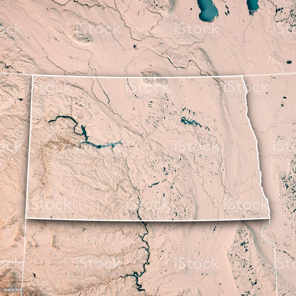 North Dakota State USA 3D Render Topographic Map Neutral Border stock photo