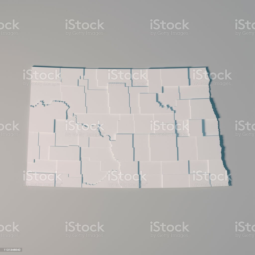 3D Render of an US State map of North Dakota with the Administrative...