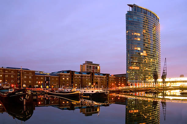 North Dock in Canary Wharf, London. stock photo