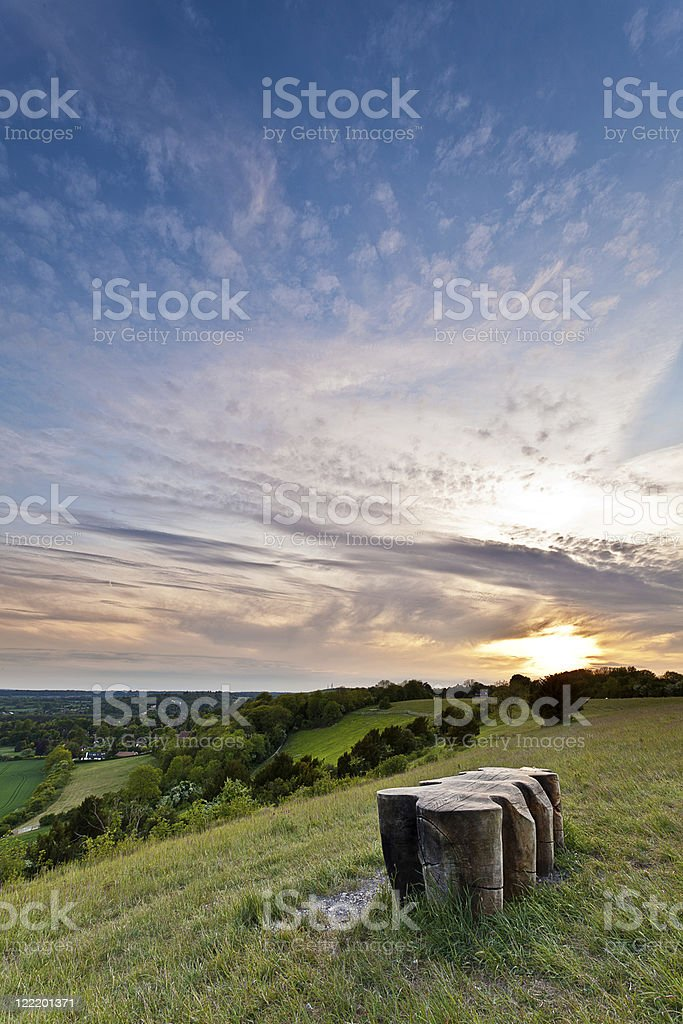 North Downs at Sunset stock photo