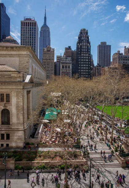 North East Corner of Bryant Park on a Bright Spring Day