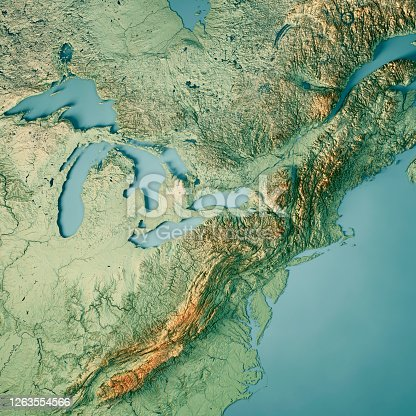 171057063 istock photo North East Region USA 3D Render Topographic Map Color 1263554566