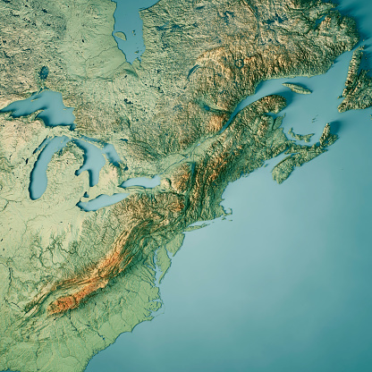 3D Render of a Topographic Map of North East USA and parts of Ontario and Quebec, and Nova Scotia to the right.  All source data is in the public domain. Color texture: Made with Natural Earth.  http://www.naturalearthdata.com/downloads/10m-raster-data/10m-cross-blend-hypso/ Relief texture: GMTED2010 data courtesy of USGS. URL of source image:  https://topotools.cr.usgs.gov/gmted_viewer/viewer.htm Water texture: World Water Body Limits: Humanitarian Information Unit HIU, U.S. Department of State http://geonode.state.gov/layers/geonode%3AWorld_water_body_limits_polygons Boundaries: Humanitarian Information Unit HIU, U.S. Department of State (database: LSIB) http://geonode.state.gov/layers/geonode%3ALSIB_10
