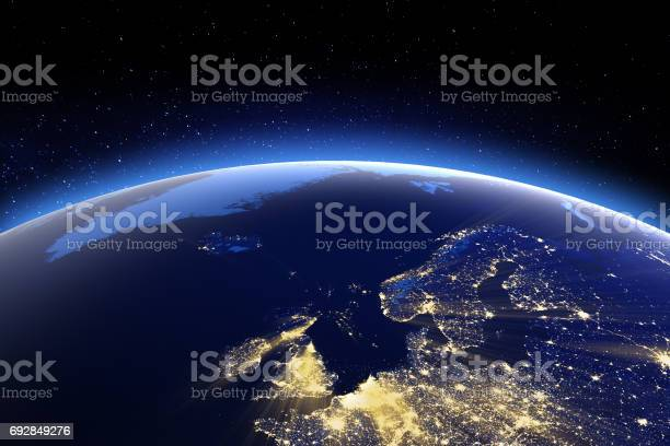 North Europe. 3D Rendering. Stars my own photo. Elements of this image furnished by NASA