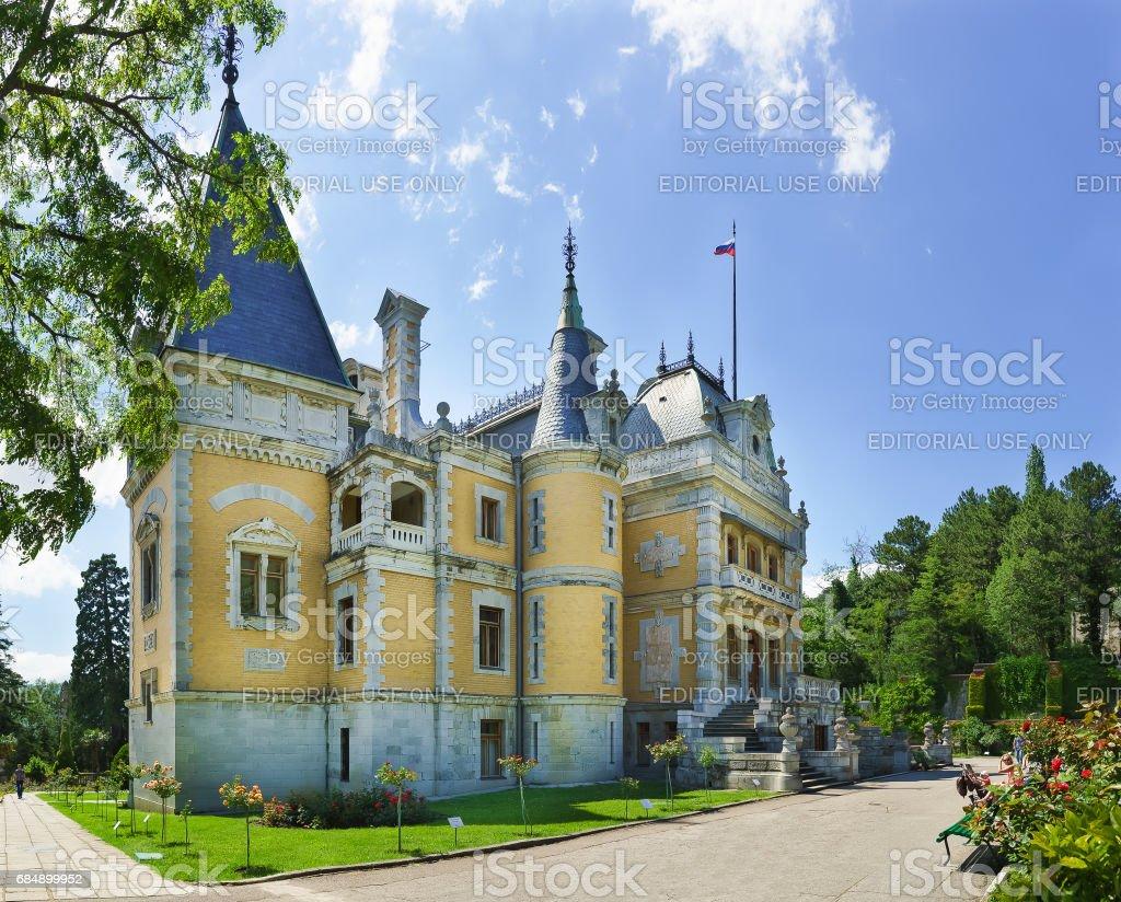 YALTA, CRIMEA, RUSSIA - JUNE 07.2016: North facade of Massandra Palace of Emperor Alexander III . Crimea, Russia stock photo