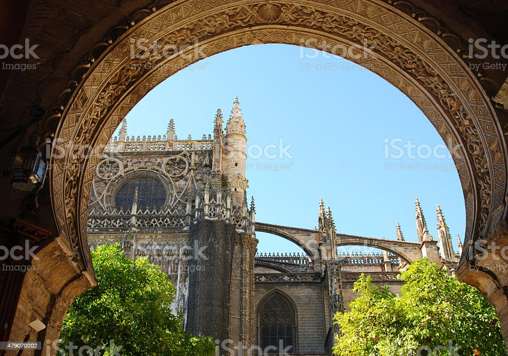 North Facade of the Seville Cathedral. stock photo