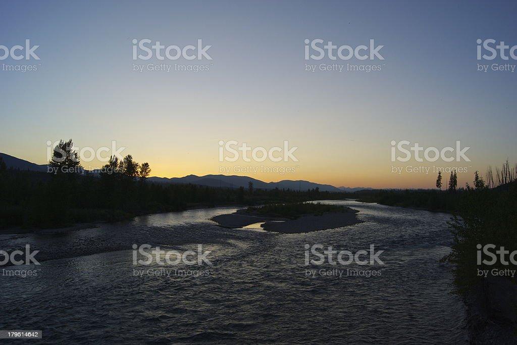 North Flathead River Dusk royalty-free stock photo