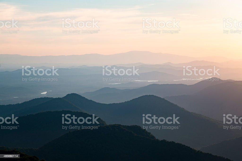 North Georgia Appalachian Mountain Sunset stock photo