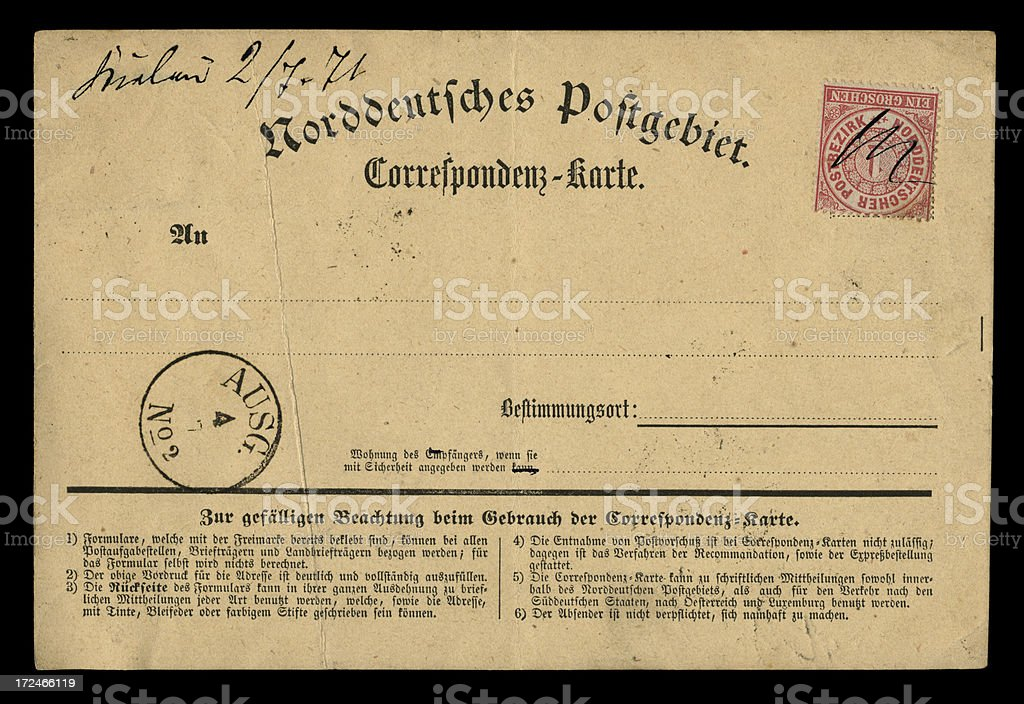 North German Confederation postcard, 1871 stock photo