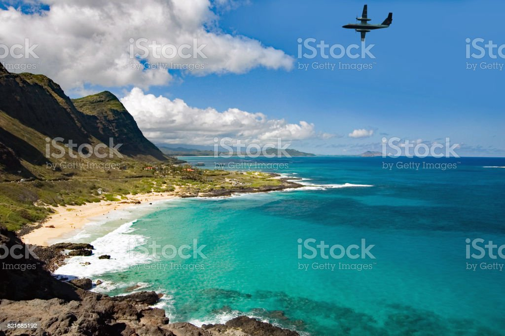 North Hawaii shoreline view point on highway 83 stock photo