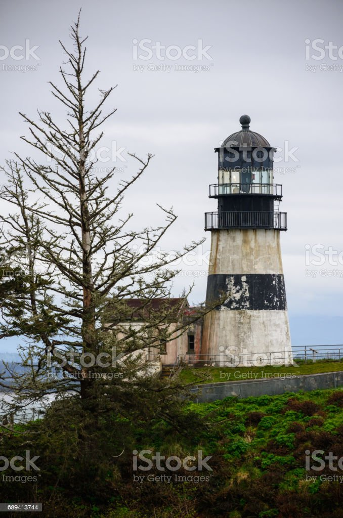 North Head Lighthouse and Bell's Overlook at Cape Disappointment State Park stock photo