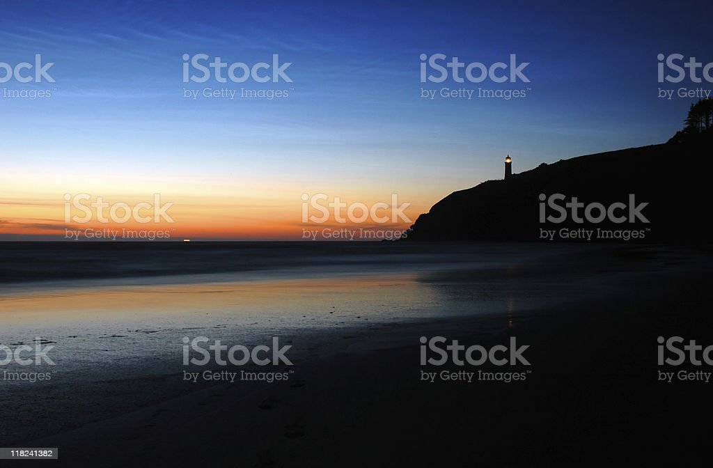 North Head Lighthouse at dusk stock photo