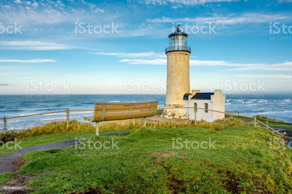 North Head Lighthouse at Pacific coast, built in 1898 stock photo