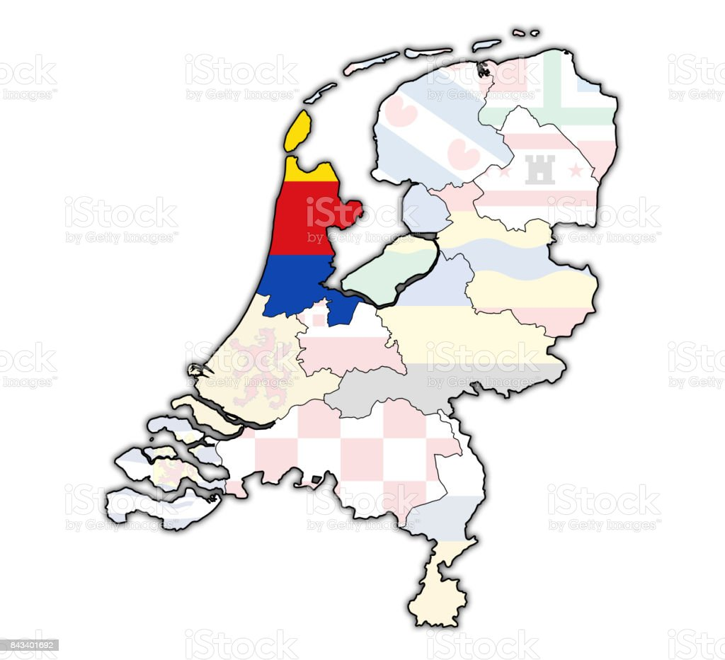 North holland flag on map with borders of provinces in netherlands north holland flag on map with borders of provinces in netherlands royalty free stock photo gumiabroncs Choice Image
