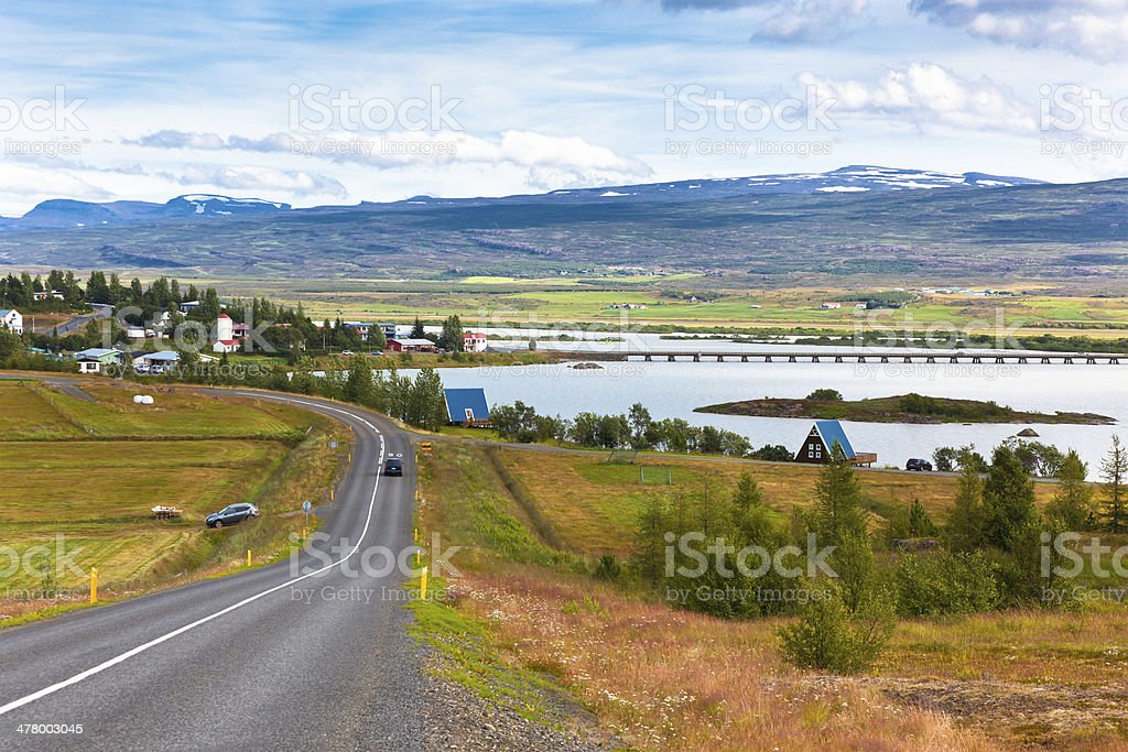 North Icelandic Landscape: View of Fellabaer Village stock photo