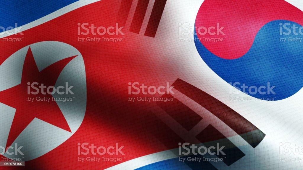 Corea del Norte y de bandera de corea del sur - foto de stock