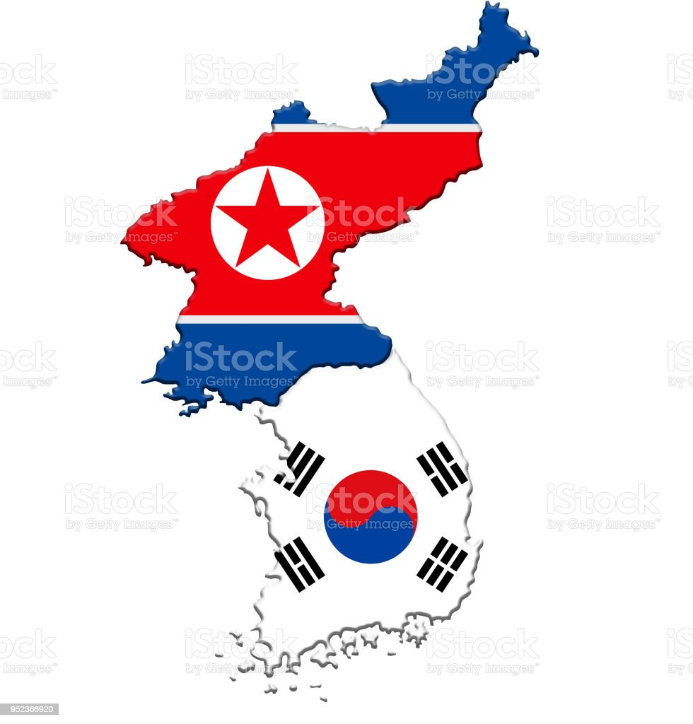 North Korea And South Korea Map Flag Icon Stock Photo More