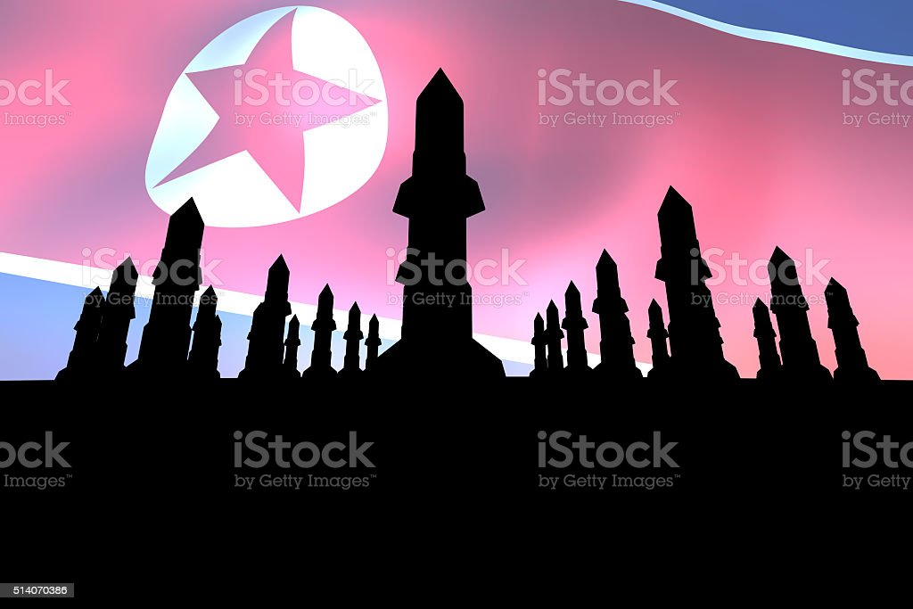 North Korea and the missile stock photo