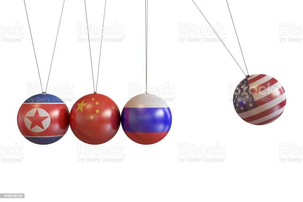 North Korea, China, Russia, Usa Countries Pendulum stock photo