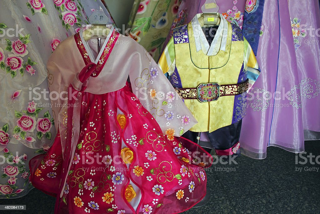 North Korea DPRK: Children's Traditional Clothes stock photo