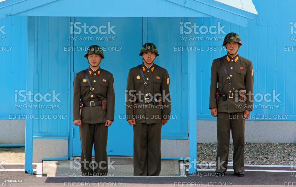 North Korea DPRK: KPA Soldiers Guard Conference Row stock photo