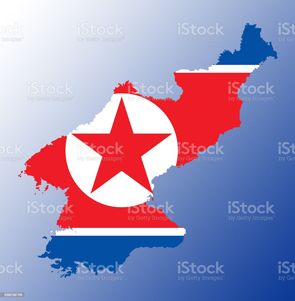 North Korea flag map royalty-free stock photo