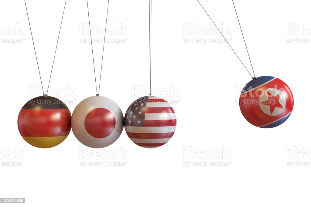 North Korea, Germany, Japan, Usa Countries Pendulum stock photo