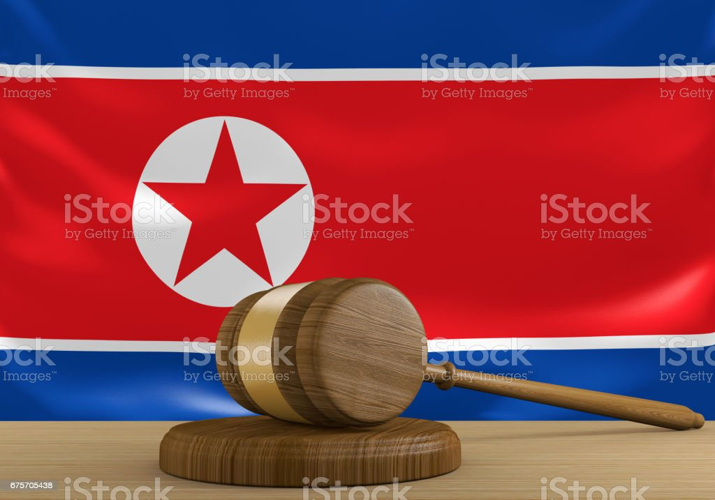 North Korea law and court justice system with national flag, 3D rendering royalty-free stock photo