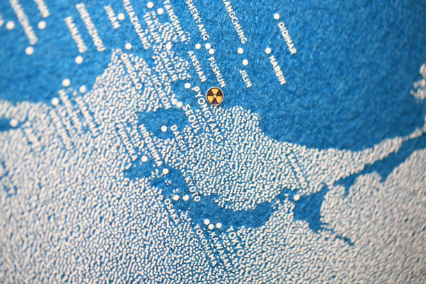 north korea missiles map north korea missiles nuclear mark on the blue printed map for nuclear crisis korean international circuit stock pictures, royalty-free photos & images
