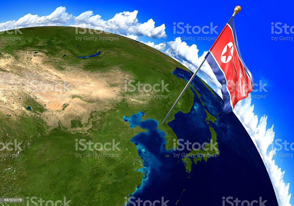 North Korea National Flag Marking Country Location On World Map ...