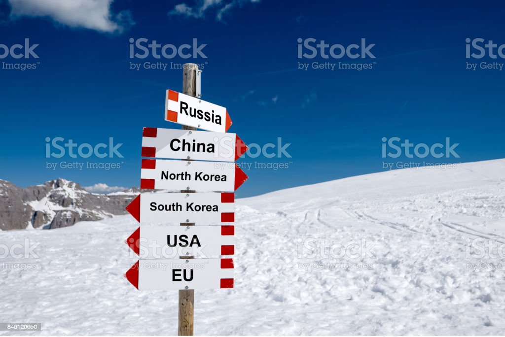 North Korea, South Korea, USA, EU, China and Russia. Cold relations and policy concept stock photo