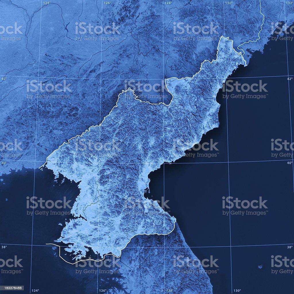 North Korea Topographic Map stock photo