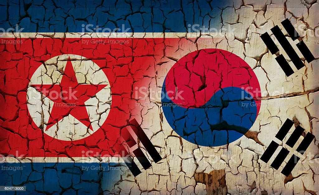 North Korea Vs South Korea Vintage Flag Stock Photo Istock