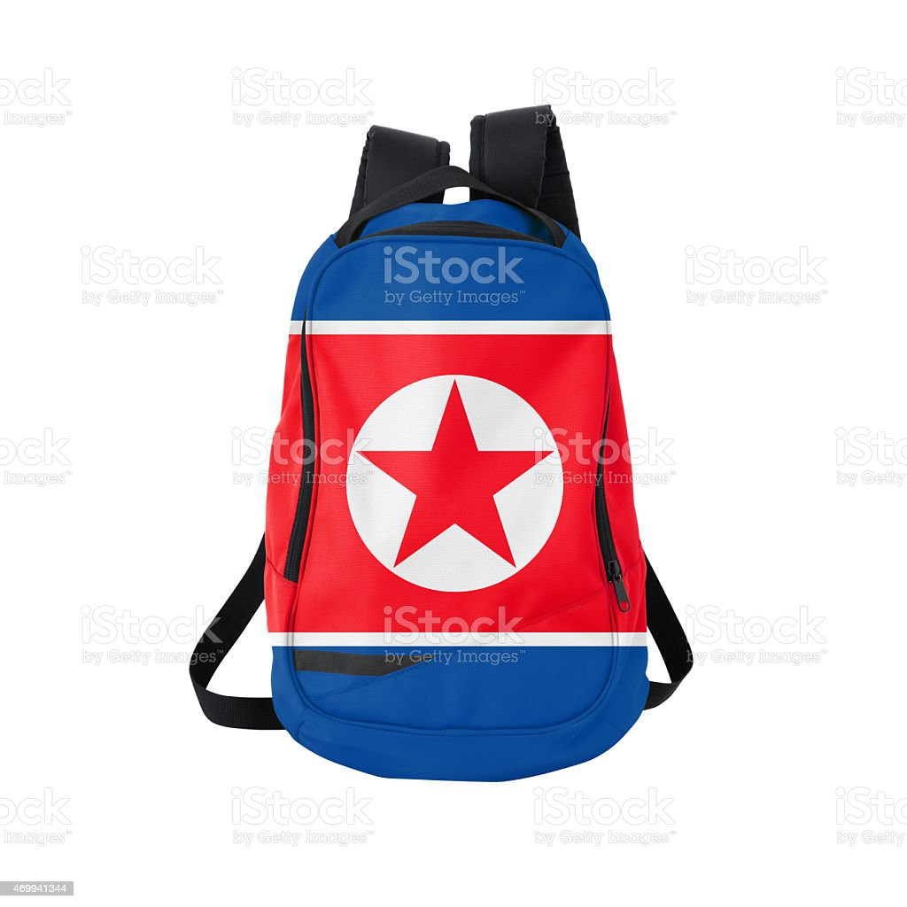 North Korean flag backpack isolated on white w/ path stock photo