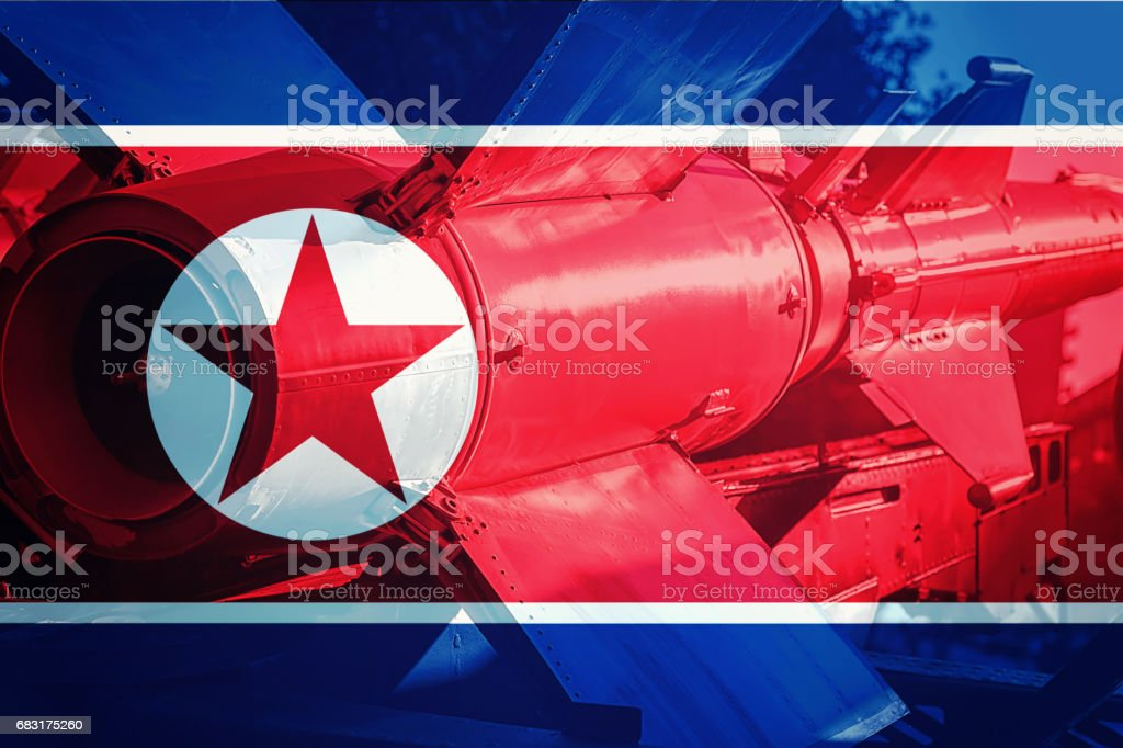 North Korean ICBM missile. Nuclear bomb, Nuclear test. stock photo