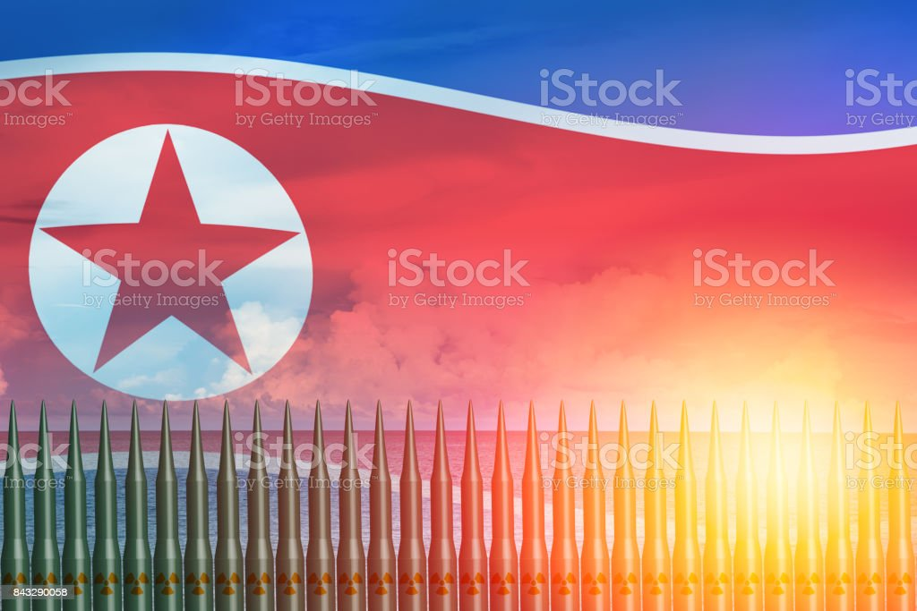 North Korean lunch ICBM missile test attack with US America for nuclear bomb news illustration concept. stock photo