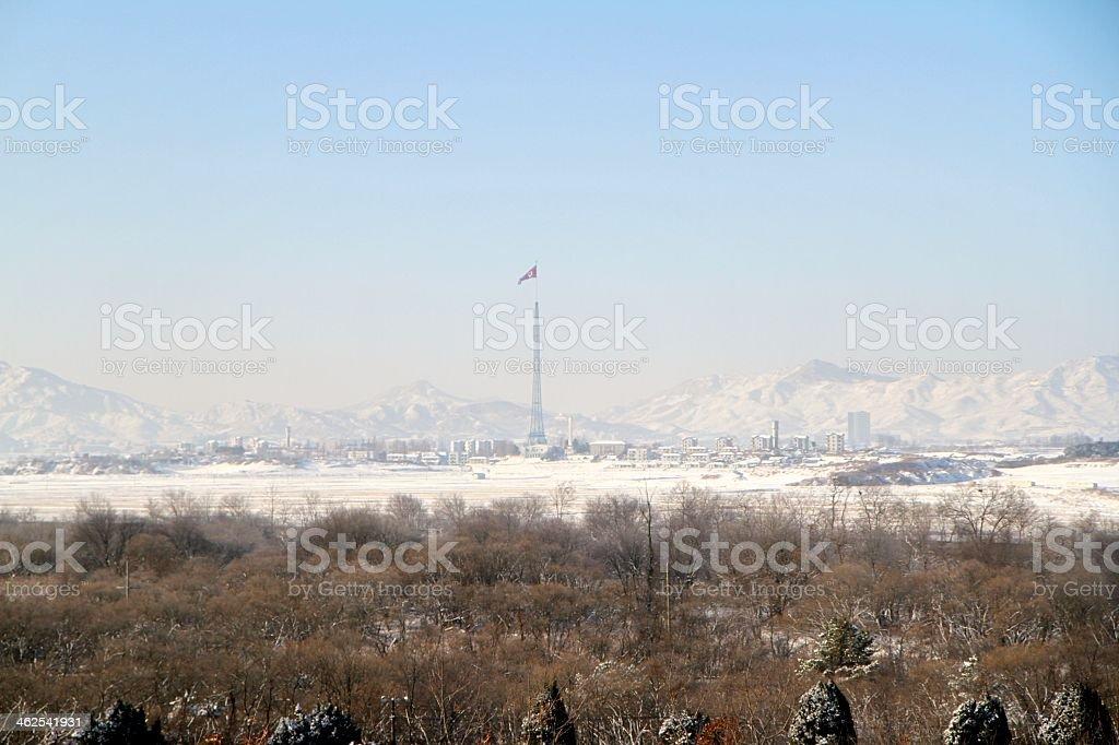 North Korean Propaganda Village in Winter stock photo