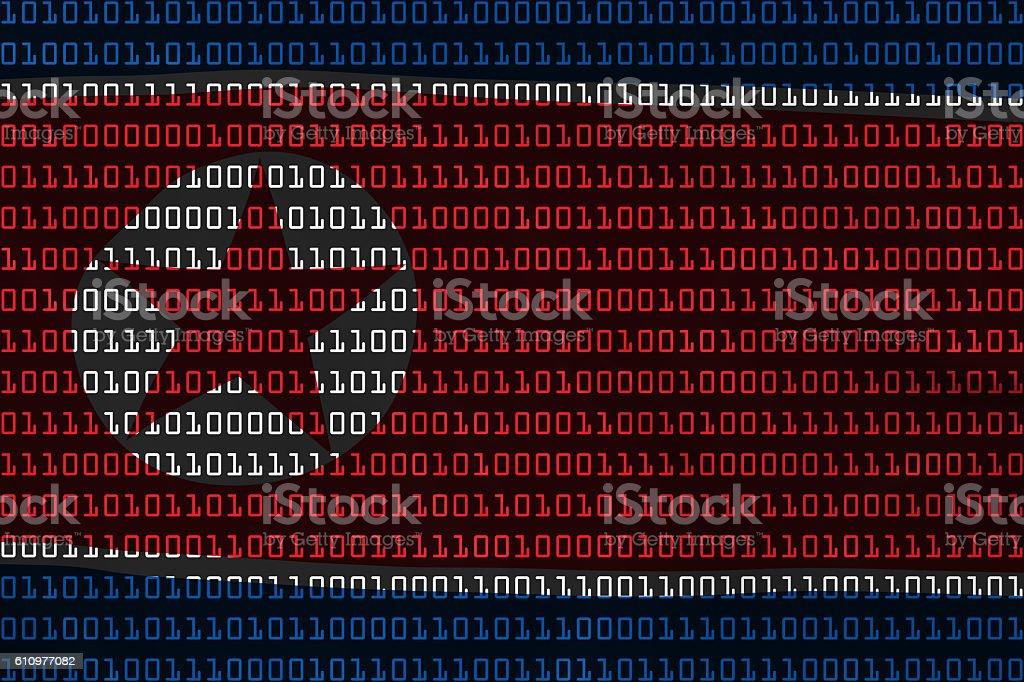 North Korean Technology Concept Flag of North Korea Binary Code stock photo