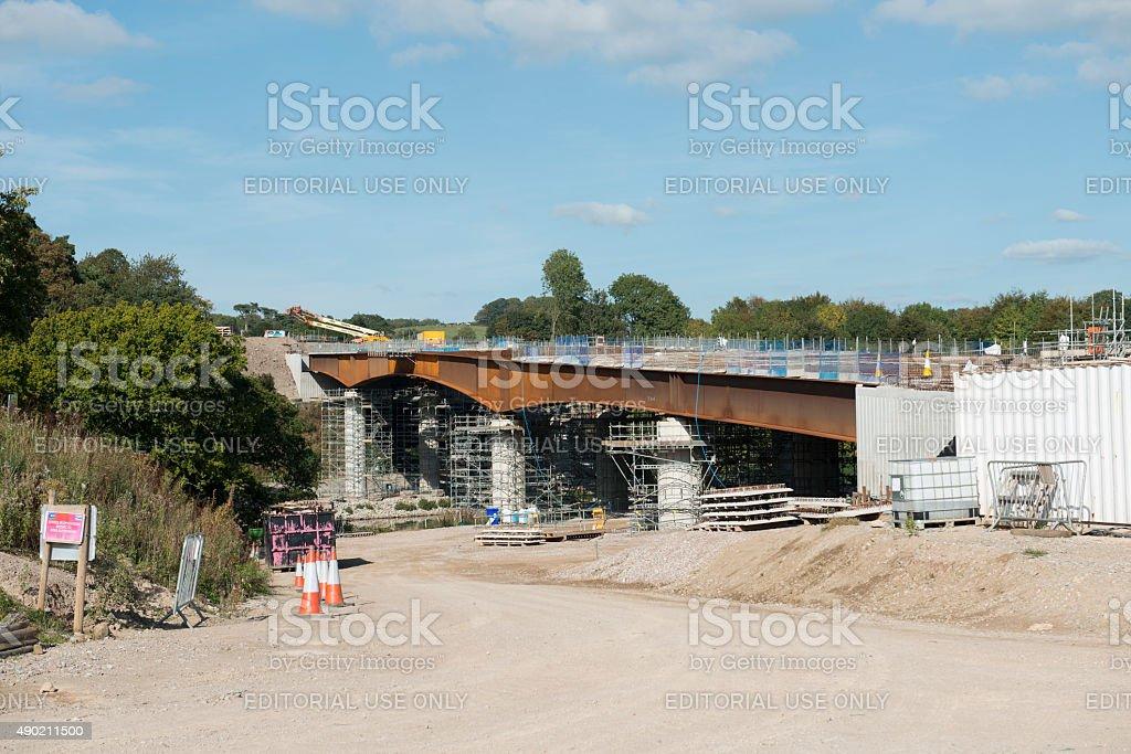 North Lancaster to M6 motorway bridge construction stock photo