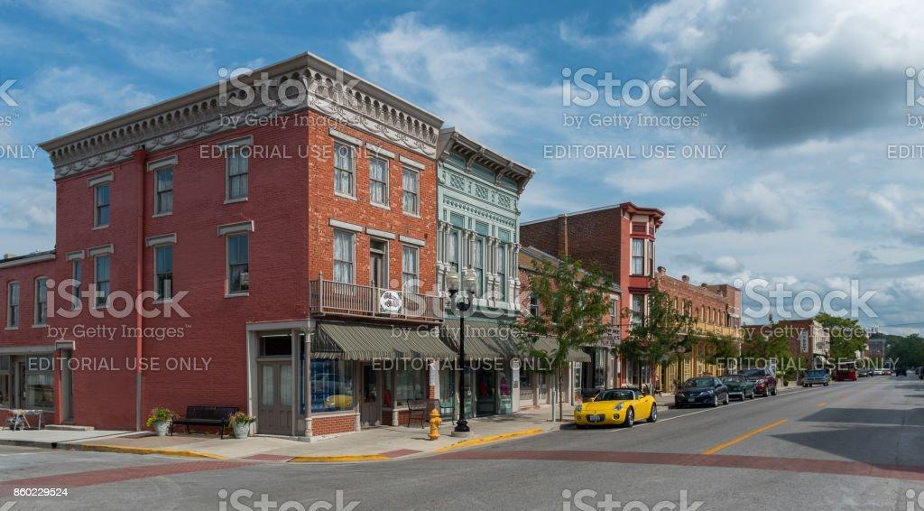 Hannibal, Missouri, USA - August 14, 2017: North Main Street Historic District in Hannibal stock photo