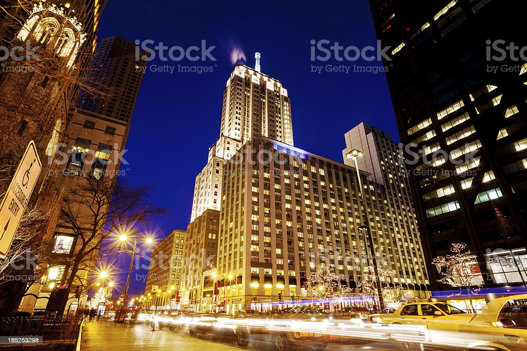 North Michigan Avenue, Downtown Chicago, at Night royalty-free stock photo