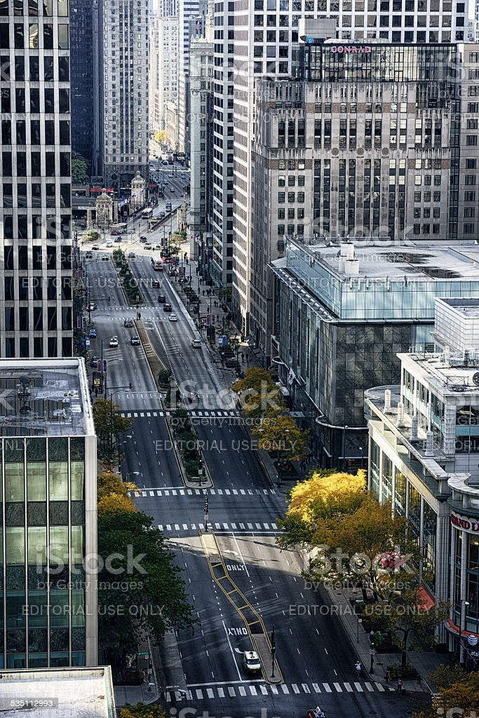 North Michigan Avenue from above,  Chicago stock photo