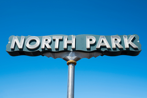 Entrance sign to the trendy North Park district of San Diego